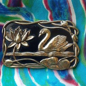 Elegant Art Nouveau Swan & Lily Pad Brooch